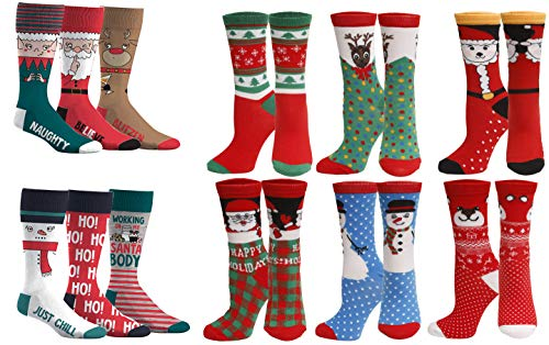 12 Pair,Holiday X-Mas Socks, 12 Different Designs,Christmas,Size 9-11 (6 Pair Men & 6 Pair Women)