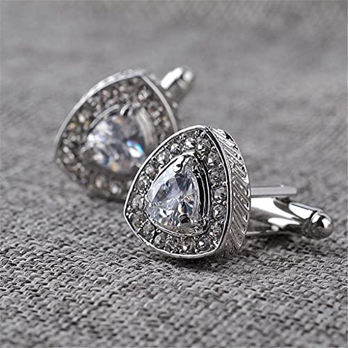 Aiglen Gemelos Triangulares para Boda para Hombre, Gemelos Triangulares Dorados con Diamantes de imitación completos, Gemelos, Botones de Cristal, Navidad (Color : Silver)