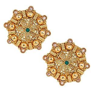 Shiining Jewel 18K Gold Plated Pure Copper Kundan, LCT, Pearls and CZ studded Traditonal Ethnic Stud Eaarrings for Women (SJ_1719)