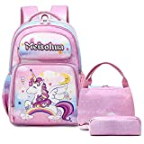 Mochila Infantil Niñas Mochila Unicornio Bolsas Escolar para Chicas Escuela Primaria 3 en 1 Bolsas Escolares para Viajes School Backpack