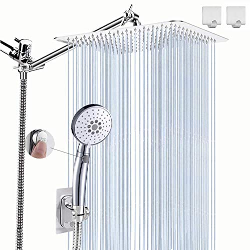Shower Head Combo, 10'' High Pressure Rainfall Shower Head / 3 Settings Button Handheld Showerhead Combo with Extension Arm, Shower Holder/78'' Hose, Chrome (square)