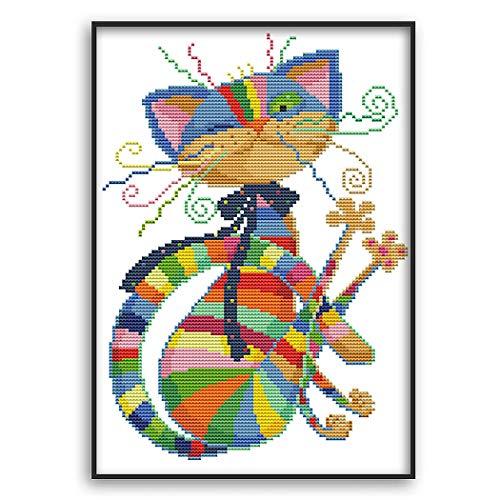 MWOOT DIY Kit Broderie Point De Croix,11CT Cross Stitch Embroidery Starter Kit,Kit de Couture à la Main pour Adultes(32x42cm)-Chat Aux Sept Couleurs