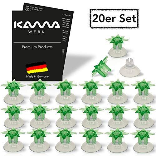 KAMAWERK Saugnapf Lichterkette Befestigung mit Sternaufsatz (20er Set in Grün) - Saugnäpfe für Fenster - Saugknöpfe Befestigung für Lichterketten