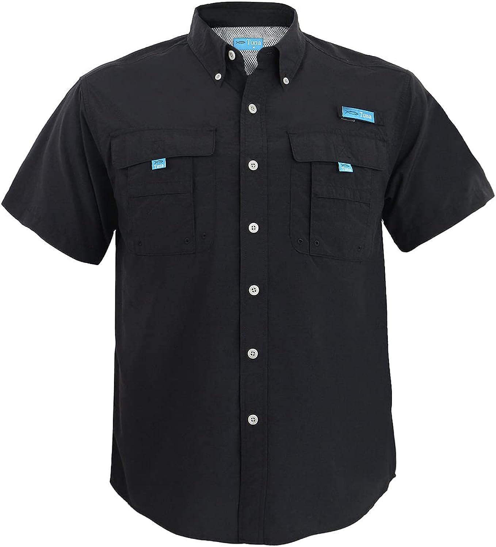 Tuna Men's UV UPF 50+ Sun Protection Soild Anti-Static Waterproof Breathable Fast Dry SPF Hiking Fishing Short Sleeve Shirts
