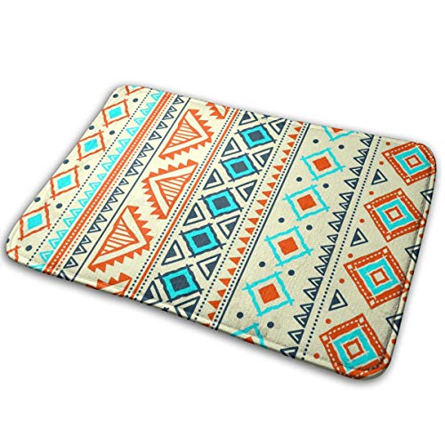 Cool Bathroom Rugs, Seamless Pattern Bohemian Non-Slip Bath Mats, Fantastic Best Absorbent Shower Carpet for Office Powder Room Entryway