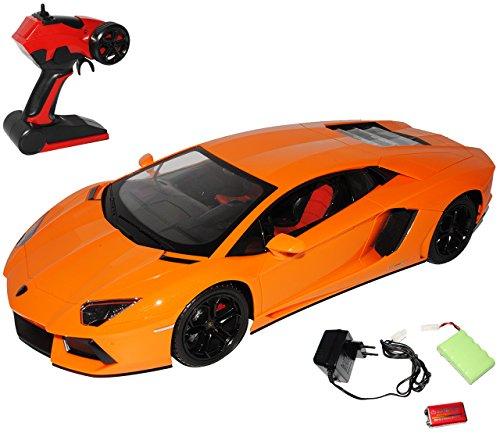 Lamborgihini Aventador LP700-4 Coupe Orange - Komplettset mit Akku - RC Funkauto - mit Beleuchtung - sofort startklar - 1/10 Modellcarsonline Modell Auto mit individiuellem Wunschkennzeichen