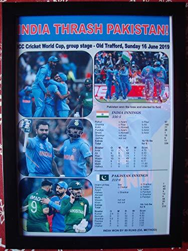 Sports Prints UK India Beat Pakistan – 2019 ICC Cricket World Cup – Gerahmter Kunstdruck