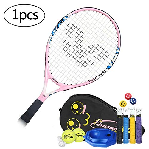 FXQIN Youth Pre-Strung Recreational Tennis Racquet, Tennis Racket for Outdoor Games 19 Inch Child's Tennis Racquet Bundled with 2 Training Tennis Balls,Best Starter Kit for Kids Age 8 and Under