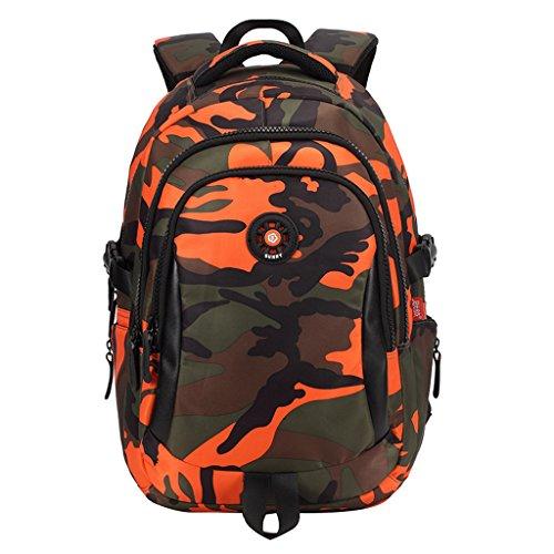 Kinderrucksack Junge von Vimukun, Teenager Tarnen Schultasche , Grundschultasche Kinderrucksack - Orange Camo