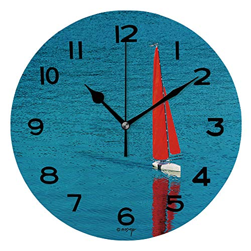 ALUONI 10 Inch Round Face Silent Wall Clock Radio Remote Control Rc Sailing Yacht Boat Simulation Model Unique Contemporary Home and Office Decor IS104126