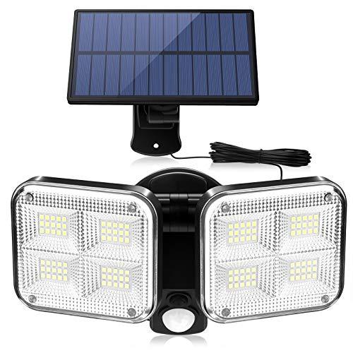 Solarlampen für Außen mit Bewegungsmelder, ZOYJITU 120 LED Strahler Außen 270° Superhelle Solarleuchten für Außen LED IP65 Wasserdichte 3 Modi Solar Wandleuchte mit 16.5ft Kabel[Energieklasse A+++]