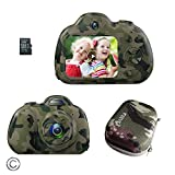 Feeyea Kids Camera for 4-10 Year Old Boys,Shockproof Camera for Kids with Carrying Case,2 in. LCD Screen,for Outdoor Play,Camo(32GB TF Card Included)