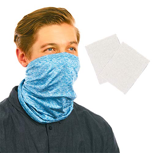 Squirrel Products RESPI-Gaiter, Neck Gaiter and Face Cover with 6 Layer Filtration, Blue, Standard