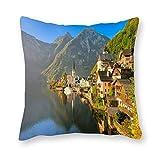 Viowr22iso Hallstatt Lake Austria - Funda de almohada decorativa para sofá, cama y silla