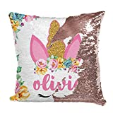 Unicorn Gifts Personalized Mermaid Sequin Throw Pillowcases | 9 Designs | Custom Magic Reversible Pillows w Your Name | Rose Gold Decorative Cushion, Pillow Cover Gifts for Girls - Christmas Decor