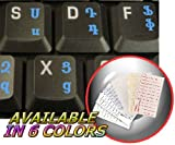 Armenian Keyboard Stickers with Blue Lettering Transparent Background for Desktop, Laptop and Notebook