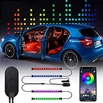 DING.PAI LED Interior Car Lights Inside Neon Accent Lights Atmosphere Lamp RGB 2 in 1 Lines Under Dash Strip Lighting Kit with Car Charge DC 12V Bluetooth Control Multi Colors Modes Music Sync