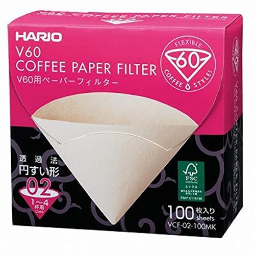 Papier-Kaffeefilter V60 von Hario 100 Stück, im Karton Size 02 Natürlich, ohne Tabs