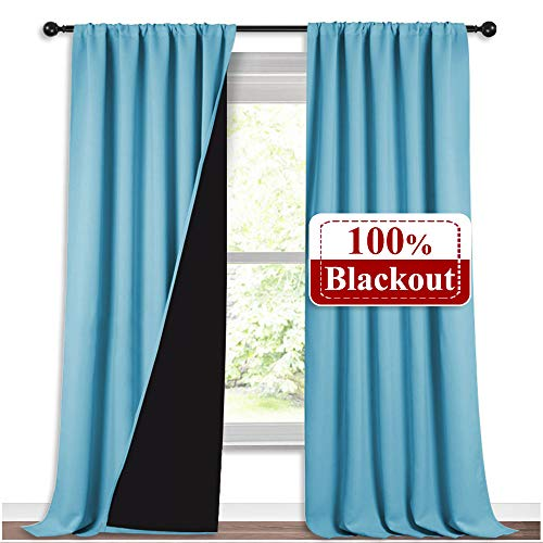 NICETOWN 100% Sun Blocking Curtains, Sound Proof Drapes with Black Backing, Full Light Blocking Panels for Patio Sliding Door (Teal Blue, 1 Pair, 52 inches x 108 inches)