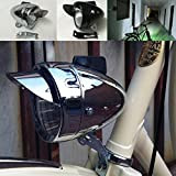 GOODKSSOP Metal Shell Bright LED Classical Cool Chrome Silver or Black Cycling Bicycle Headlight Retro Front Vintage Bike Light Night Riding Safety Fog Head Lamp Headlamp with Bracket (Black)