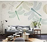 3D Vliestapete Foto Vlies Premium Fototapete Handbemalte Libelle & Herbstlaub Wandgemälde @ 250 * 175