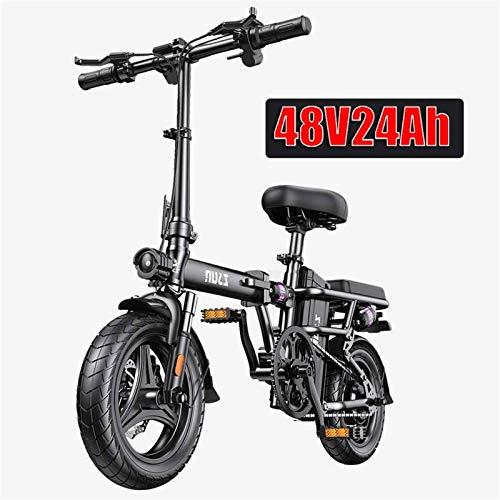 Bici electrica, Adultos Bicicleta eléctrica Plegable Ebikes Ebike Ligero 250W 48V 24Ah con 14 Pulgadas de Pantalla LCD Tire & con Guardabarros (Color : Black, Size : Range: 230 km)