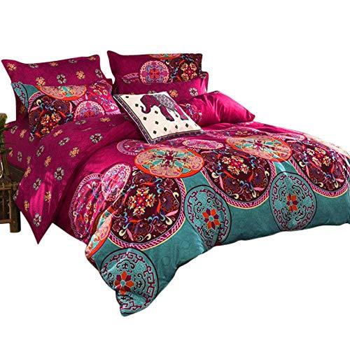 Loussiesd Juego de ropa de cama bohemio con cremallera, estilo étnico, mandala, flores, funda nórdica boho exótica, funda de almohada para mujer, rosa, 155 x 220 cm + 80 x 80 cm