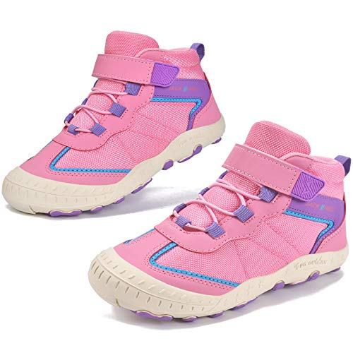 MARITONY Kids Boys Girls Outdoor Hiking Boots Non Slip Lightweight Breathable Water Resistant Ankle Walking Hiking Shoes for Children Pink