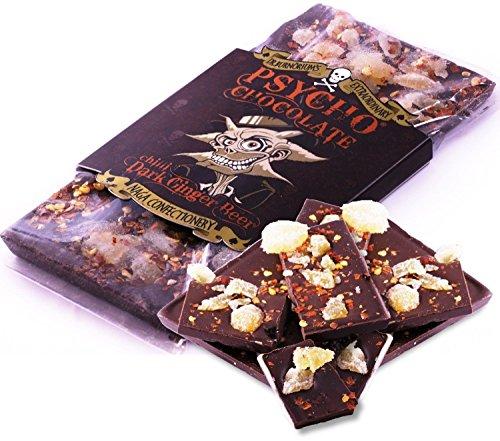 Psycho Chocolate - Barretta Di Cioccolato Fondente Piccante Al Peperoncino Naga - Sapore Ginger Beer - 100g