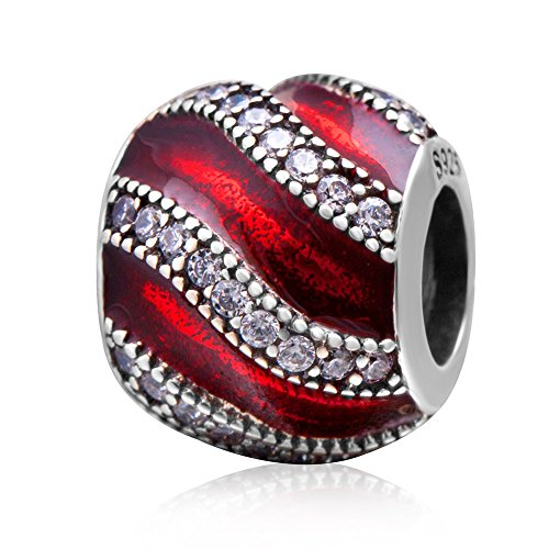 Charm-Anhänger für Pandora-Charm-Armband, 925 Sterlingsilber, zum Jahrestag rot