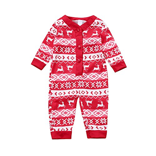 Culater Fashion Newborn Infant Baby Girl Boy Moose Deer Manica Lunga in Cotone Pagliaccetto One-Pieces Xmas Outfits Natale Pigiama