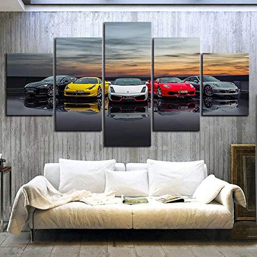 Cuadro Moderno En Lienzo 5 Piezas Coche Deportivo Lamborghini Ferrari Cuadro De Pintura Póster De Arte Moderno Oficina Sala De Estar O Dormitorio Decoración del Hogar Arte De Pared 200X100CM