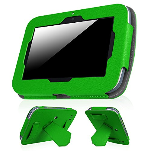 """Fintie Case for Leapfrog Epic - Premium PU Leather Standing Carrying Cover with Car Headrest Mount Holder Function for Leapfrog Epic/Leapfrog Epic Academy Edition 7"""" Android-Based Kids Tablet, Green"""