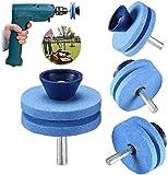 3 Stück Rasenmäherklingenschärfer, universeller Verschleiß, für alle Bohrmaschinen und Handbohrer, mehrscharfe, rotierende Korund-Schleifsteine, doppellagige Schleifsteine (blau)
