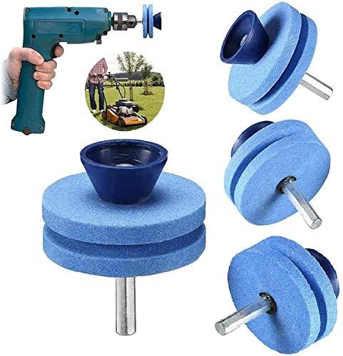 Afilador de cuchillas para cortacésped, de uso universal, para cualquier taladro eléctrico y taladro manual, herramienta de molienda de corindón giratorio multiafilado, piedras de doble capa (