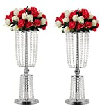 2Pcs Acrylic Crystal Centerpiece Wedding Backdrop Flower vase Candleholder Table Stand Party Decoration Road Lead Frame Wedding decorationDecor Decorations Room Decoration (Silver, 23.75')