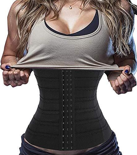 Gotoly Corsé para Mujer Faja Reductora Entrenador de Cintura Faja Moldeadora para Control de Abdomen Faja de Cintura Waist Trainer (Negro, Medium)