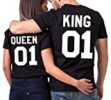 JWBBU King Queen Couple T-Shirt Partner Look Couple Tops Set pour Couple Noir (King-M+BK-Queen-S)