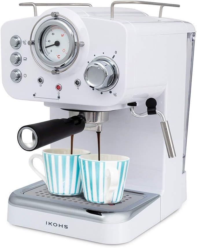 IKOHS THERA Retro - Cafetera Express para Espresso y Cappucino, 1100W, 15 Bares, Vaporizador Orientable, Capacidad 1.25l, Café Molido y Monodosis, con Doble Salida (Blanco)