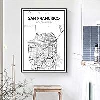 サンフランシスコ市地図ポスターミニマリスト地図壁アートパネルアメリカ合衆国都市交通帆布絵画インテリア黒と白写真モダン版画生活寝室部屋装飾画