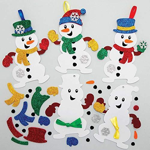 Baker Ross AX516 Schneemann Mix & Match Deko Anhänger Bastelset für Kinder - 8 Stück, Festliche Kreativsets und Bastelbedarf zum Basteln und Dekorieren zur Weihnachtszeit