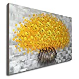 Winpeak Art Hand Painted Modern Textured Yellow Flower Oil Painting on Canvas Abstract Floral Artwork