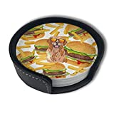 HBLSHISHUAIGE Hamburger Fries Coasters with Holder Set,Round Mugs and Cups Mat Pad for Drinks,Suitable for Home and Kitchen(6pcs)