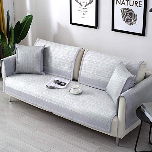 WZF Summer Rattan Sofa Cover Sofa Slipcover Ice Silk Sofa Slipcover Super Soft Breathable Towel Living Room Pet Dog and Children Kids-a 110x90cm (43x35inch)