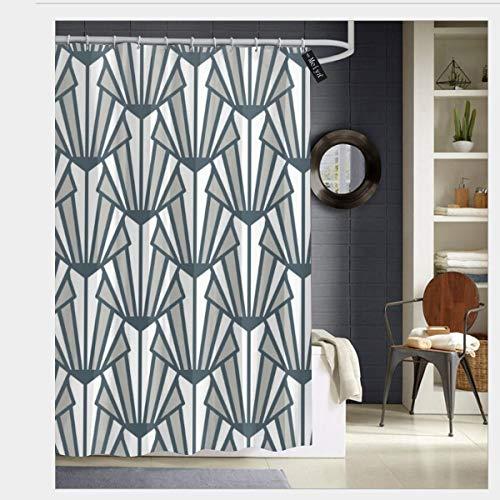 Colin-Design Badezimmer-Duschvorhang aus Buntglas, Art Deco, nahtloses Muster, grau-blau, Vektordruck, dekorativer Badezimmer-Vorhang mit 12 Haken, 182,9 x 182,9 cm