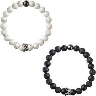 Marrywindix Couple Bracelets, Crown Couples His and Hers Bracelet 8mm Beads Bracelet Crown Bracelet Friendship Relationshi...