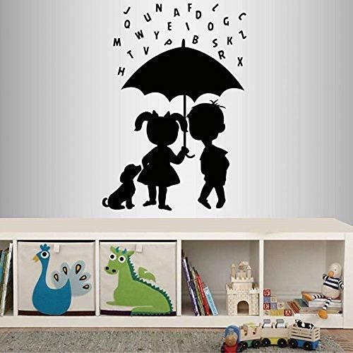 Calcomanías de vinilo de pared niños lindos niños niñas paraguas letras lluvia cachorro jardín de infantes dormitorio sala de juegos decoración del hogar pegatinas