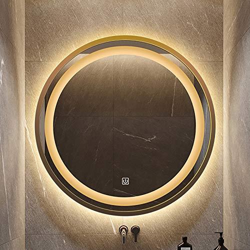GETZ Espejo de Baño Redondo con Iluminación LED para Montaje en Pared, Espejo de Tocador de Baño Iluminado Circularmente con Interruptor Táctil Integrado Regulable, Luz Blanca/Luz Cálida, Dorado