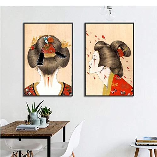 Vintage Japanse Posters en Prints Decor Japan Kimono Meisje Canvas Art Muurfoto's voor Woonkamer Moderne Woondecoratie 50x70cmx2 ongekaderde