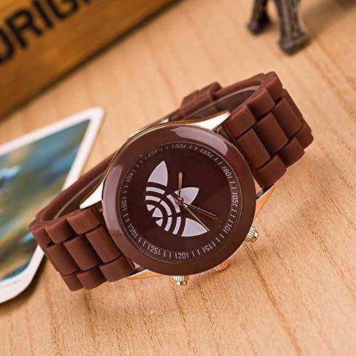 yuge Reloj de pulsera de silicona para mujer, color caramelo, reloj de pulsera, reloj de regalo para las mujeres café